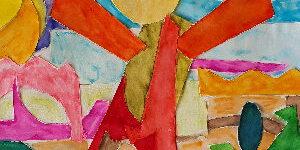 Ein buntes Bild aus einem online seminar spielfreude. Es zeigt schematisch und abstrakt die Heldin eines Märchens.